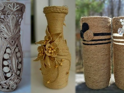 DIY Flower Vase Out Of Waste Bottle and Jute | Best out of waste idea