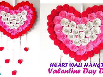 DIY Heart Wall Hanging | Valentine wall decor ideas | paper and woolen wall hanging craft