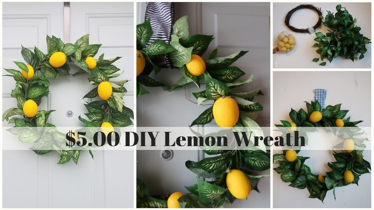 DIY LEMON WREATH $5.00   POTTERY BARN INSPIRED   SPRING DECOR   FARMHOUSE   MAKE IT YOUR OWN MONDAY