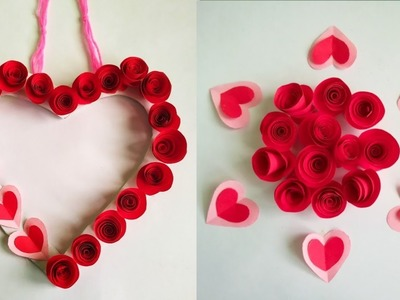 Diy paper flower wall hanging.Simple and beautiful wall hanging. Heart wall hanging. KovaiCraft