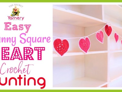 Granny Square Heart Crochet Bunting - DIY Valentines. Baby Nursery Yarn Project