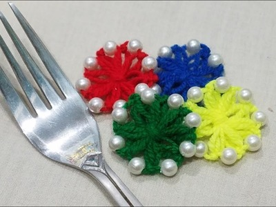 Hand Embroidery Amazing Trick Making Wool Flower With Fork Part 24