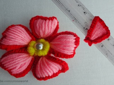 Hand embroidery amazing tricks| #easy wool embroidery flower #sewing hacks with ruler