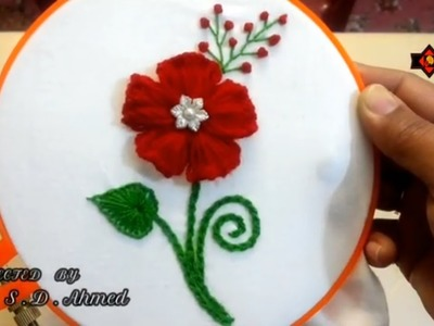 Hand Embroidery -easy trick woolen flower with embroidery