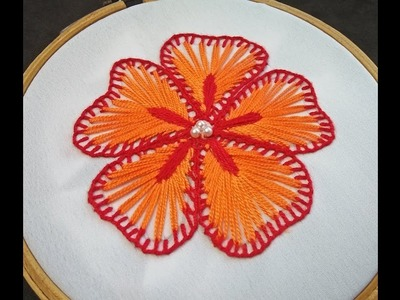 Hand Embroidery | Flower Embroidery For Beginners | Fantasy Flower Stitch | Easy Flower Embroidery