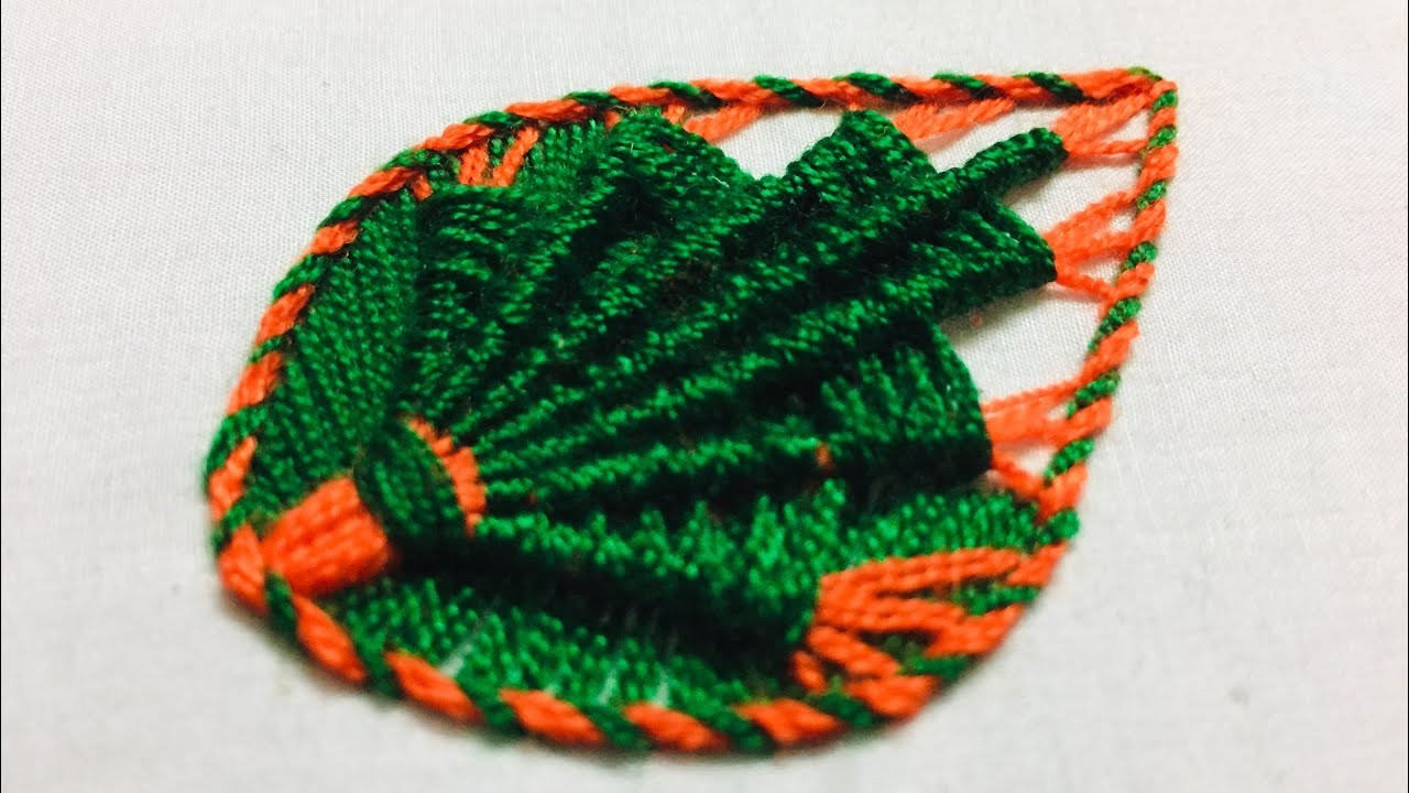 Hand Embroidery:leaf design embroidery by nakshi design art
