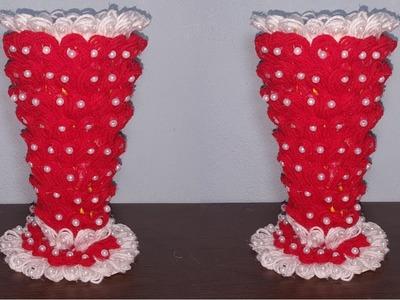 How to make flower vase - Craft ideas - Best out of waste   Woolen craft ideas