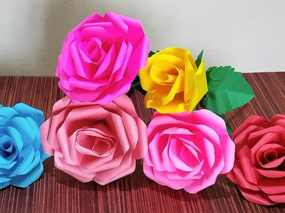 How To Make Paper Flower Bouquet With Paper Rose | DIY Easy Paper Rose | Simple Paper Craft
