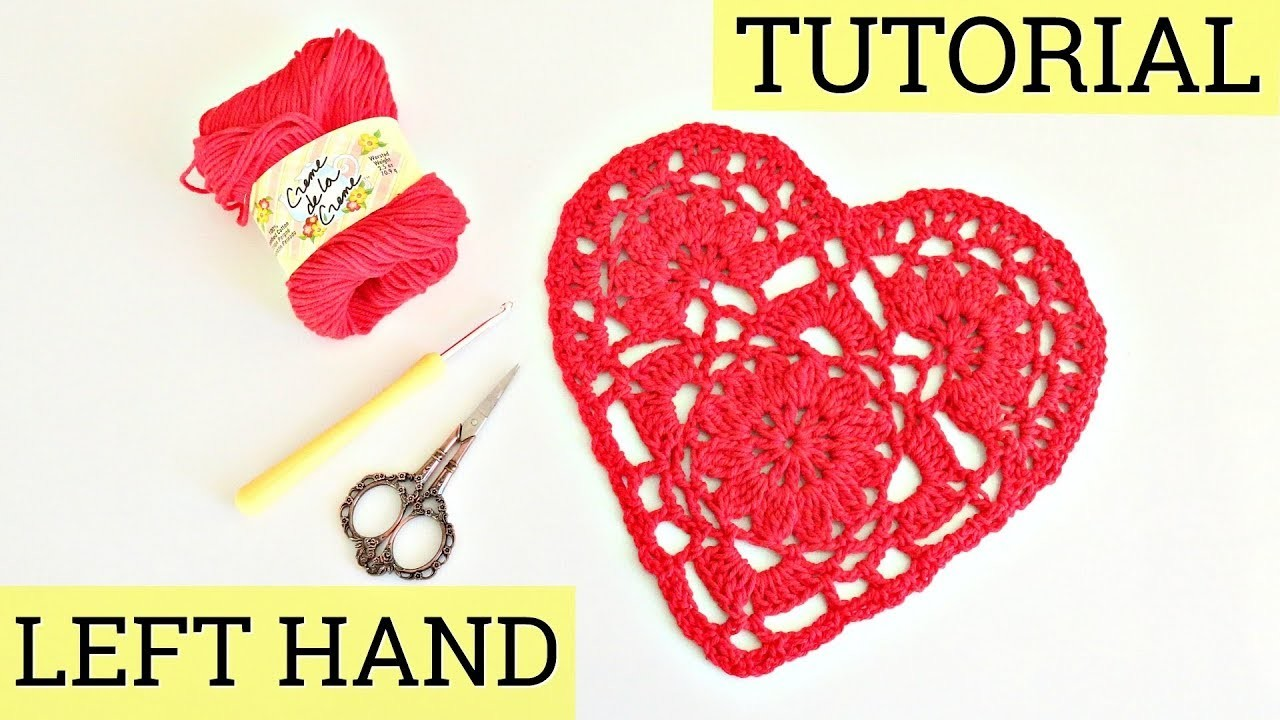 Left Handed | HOW TO CROCHET A DOILY HEART | Lace heart | ❤️