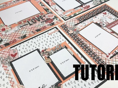 Scrapbook Tutorial | Simple Stories | Kissing Booth | *4 layouts* Cutting Guide