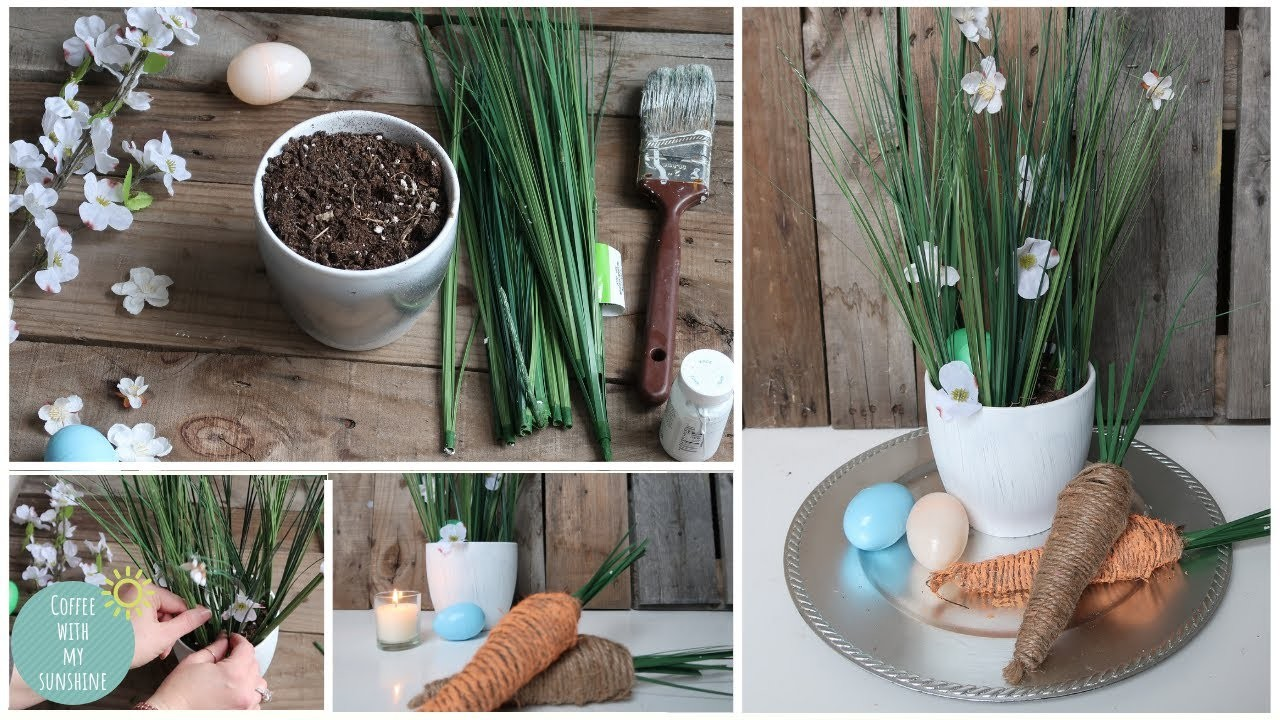 SPRING FARMHOUSE DIY DOLLAR TREE | EASY BUDGET FRIENDLY EASTER  CENTERPIECE | RUSTIC HOME DECOR 2019