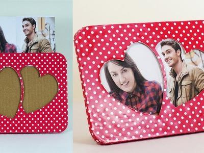 Valentines Special Handmade Photoframe - Easy DIY Heart Shaped Photoframe with Cardboard