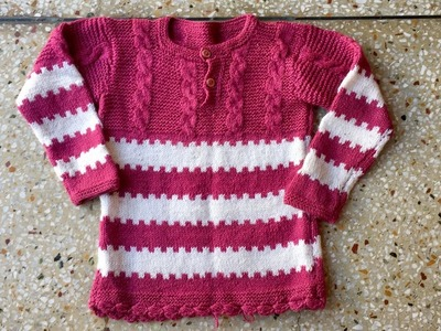 Very easy double colour sweater design in Hindi