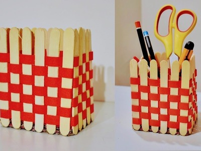 Best out of waste Pop Stick craft | DIY Pen stand.organizer from popsicle sticks - artsNcraft