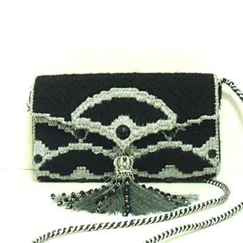 Black & Sliver Jeweled Bargello Purse/Clutch