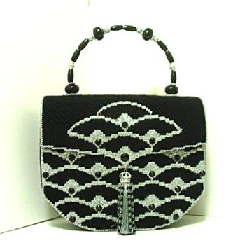Black & Sliver Jeweled Bargello Handbag