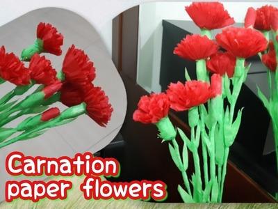 Cara membuat bunga Carnation kertas   DIY craft carnation paper flowers