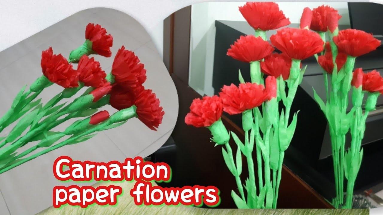 Cara membuat bunga Carnation kertas | DIY craft carnation paper flowers