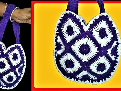 Crochet Purse | Woollen Handbag Making | Wool Handmade Purse | Hand Embroidery | Woolen Craft | DIY