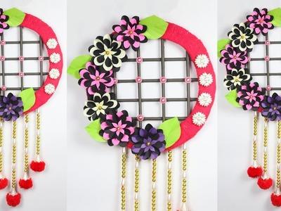 Diy paper flower and woolen wall hanging | Woolen craft | Home Decoration Idea