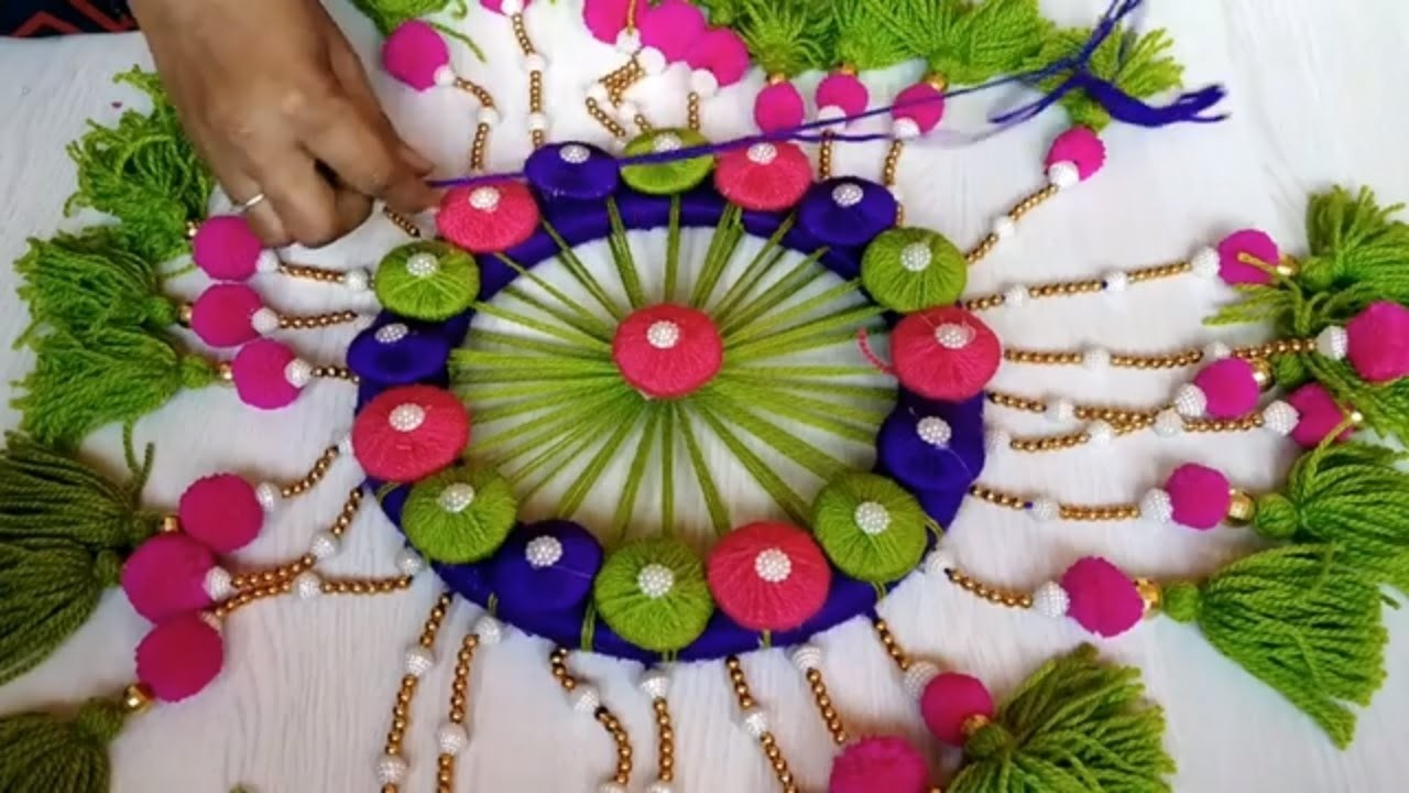 DIY Woolen Jhumar.Wool Chandelier.Wool Wind Chime.craft idea out of wool