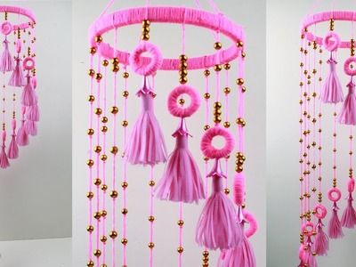 DIY Woolen Jhumar.Wool Chandelier.Wool Wind Chime. Easy SHOPPING BAG Craft Idea. Rabeya Begum