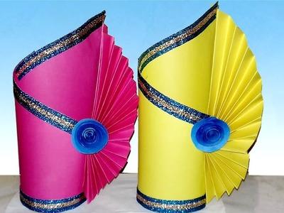 Easy Paper Flower Vase   DIY Simple Paper Craft   How to Make A Flower Vase At Home   Paper Vase