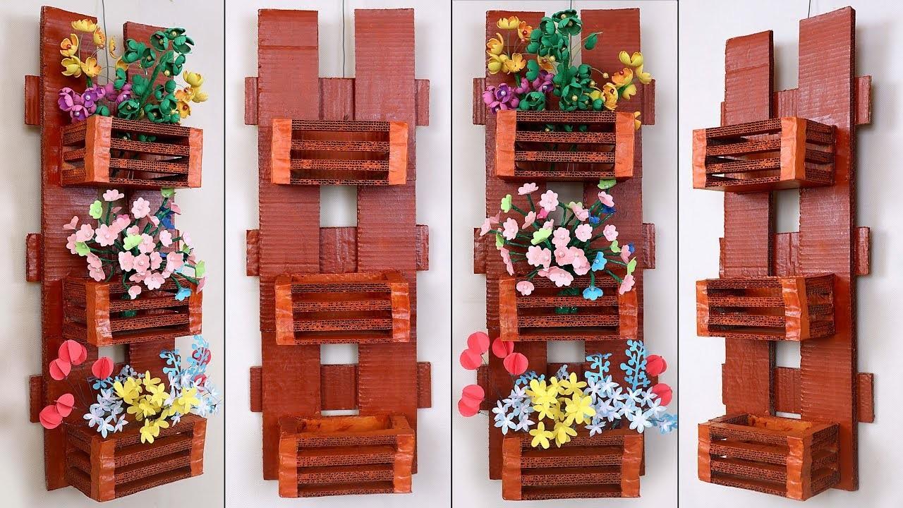 Genius Cardboard Craft.  || DIY Wall Hanging Flower Pot Making || Handmade Things