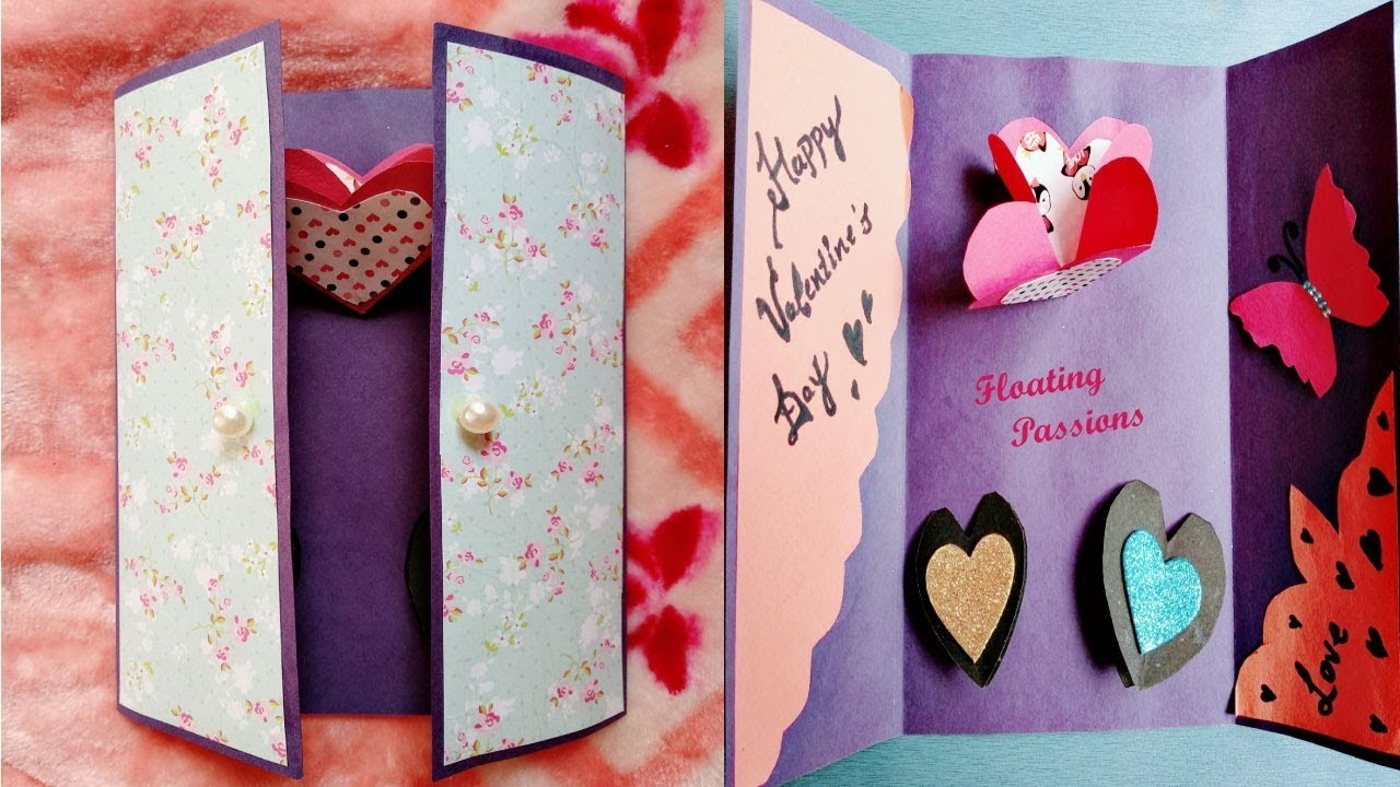 Handmade card for Valentines day | Handmade Valentine's Day card | Love Greeting Cards