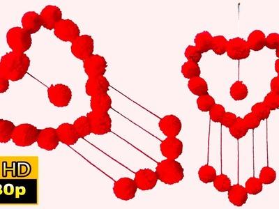 Heart shape wall decoration | heart shaped wall hanging craft ideas |  valentine's day diy decor