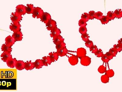 Heart shaped wall hanging craft ideas |  valentine's day diy decor | heart shape wall decoration