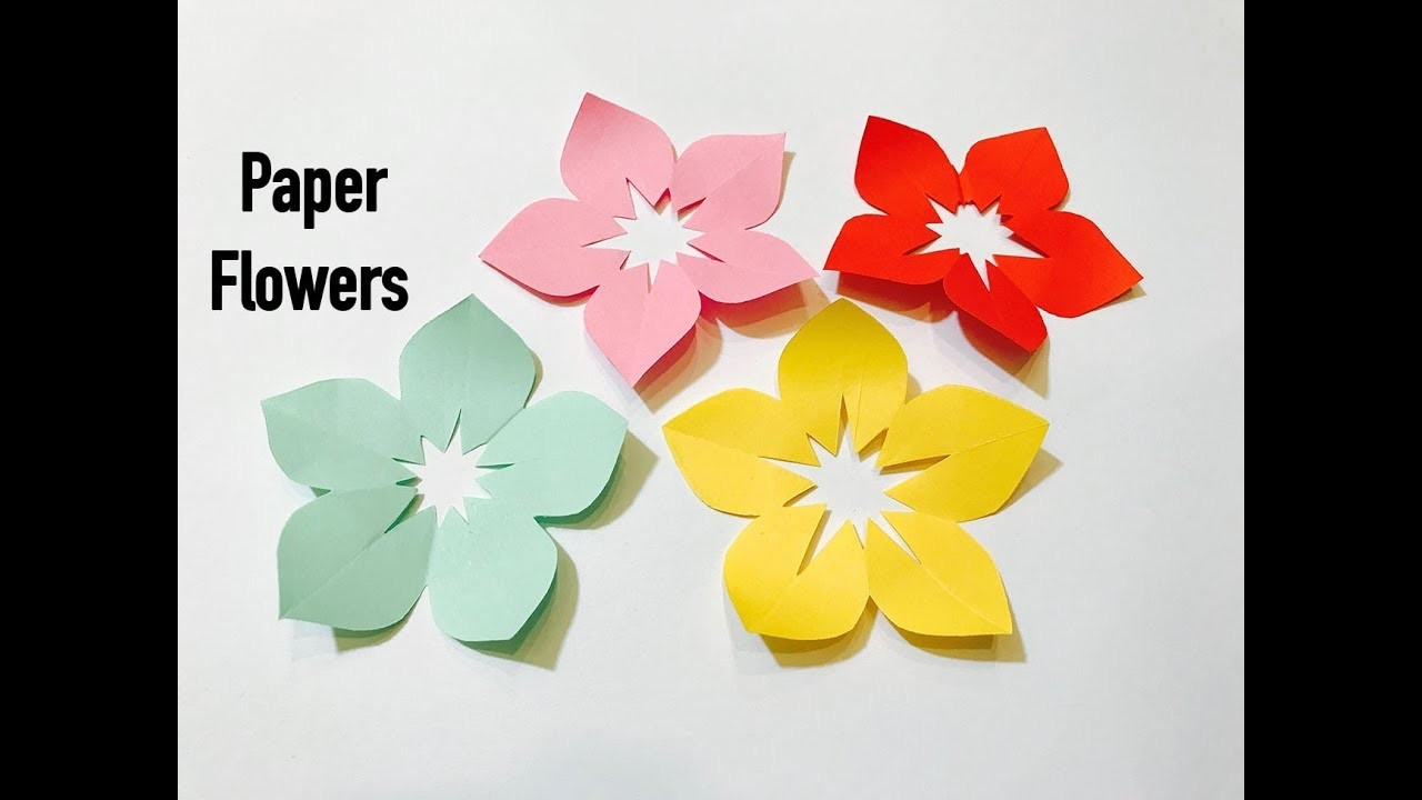 How to make 5 Petal Hand Cut Paper Flowers : DIY : Craft