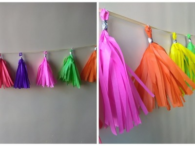 How to make a tissue paper tassel garland. Birthday decorations paper craft.