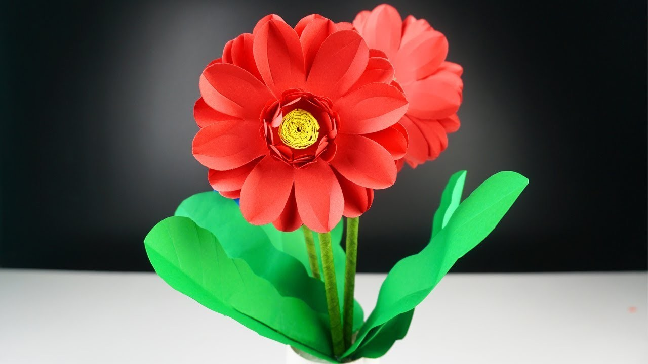 How to Make Beautiful Flower with Paper - DIY Paper Flowers Craft - Flower Pot Using Paper