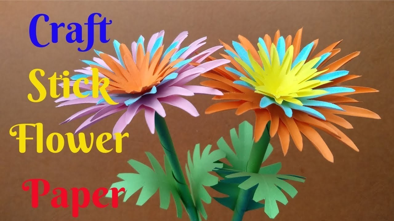 How To Make Beautiful Stick Flower Colour Paper Craft Stick Flower