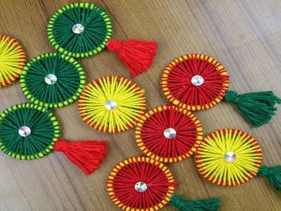 How to Make Beautiful Woolen Door Hanging Toran | Woolen Craft Idea - New woolen design - DIY arts