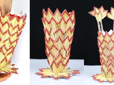 How to make flower vase with matchsticks   Flower vase diy   Matchstick Craft