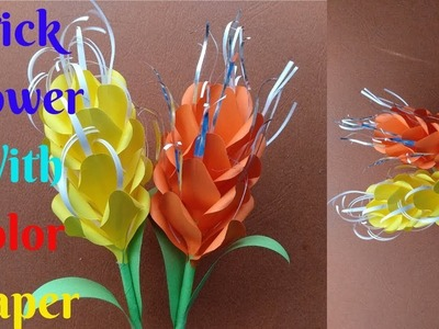 How To Make Stick Flower With Color Paper | Craft Stick Flower Color Paper | Home Diy Crafts Paper