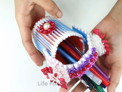 Make Simple & Easy a pen stand With Cotton Buds | DIY Craft Ideas, Videos & Tutorials