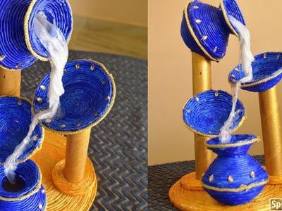 Newspaper craft idea   DIY Newspaper waterfall showpiece  best out of waste