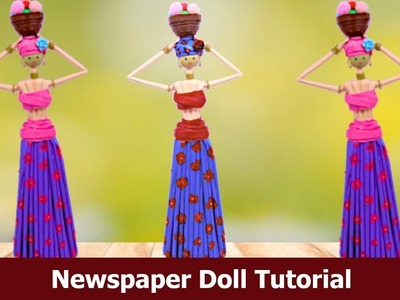 #NewsPaperCraft #homedecor DIY Newspaper Doll  | Best Out of Waste Craft Idea  | Aloha Crafts