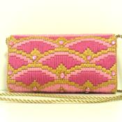 Pink & Gold Bargello Jeweled Purse/Clutch
