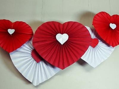 Valentine's Day Craft : Paper heart fan decoration idea