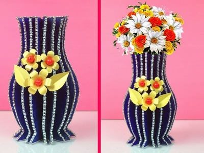 Best Out of Waste Ideas for Flower Vase - Handmade Craft from Waste Material Tutorial