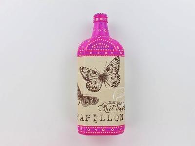 Decoupage bottle - Painted bottle - Decoupage tutorial - DIY - Do It Yourself