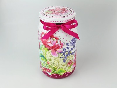 Decoupage jar - Painted jar - Decoupage tutorial - DIY - Do It Yourself