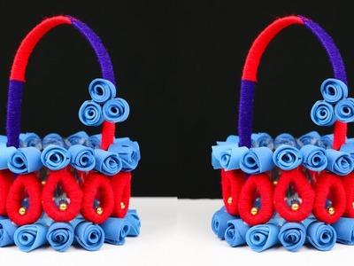 DIY Basket Craft Idea || How to Make Basket Best Out of Waste || DIY Crafts