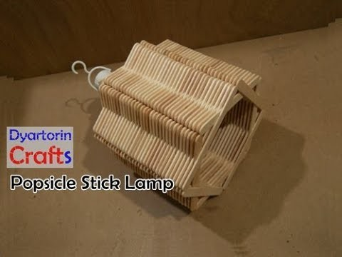 Diy easy popsicle stick lamp, ice cream stick art and craft