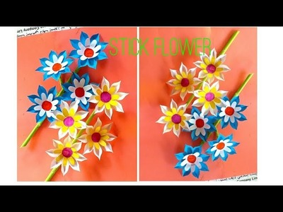 Diy Stick Flower_How To Make Easy Paper Stick Flower_Paper Craft.
