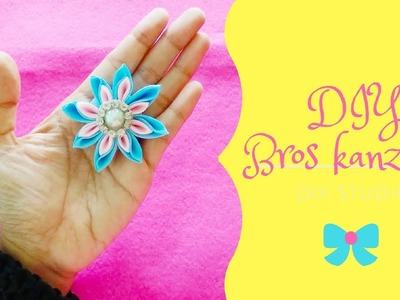 DIY || Tutorial KANZASHI || Simple KANZASHI flower #DIYkanzashi #diybroskanzashi     #kanzashiBrooch